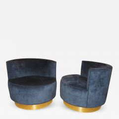 Pair of Mid Century Modern Swivel Barrel Chairs - 478322 & Pair of Mid-Century Modern Swivel Barrel Chairs