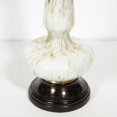 Pair of Mid Century Modern White Murano Glass Table Lamps w 24kt Gold Flecks - 1802353