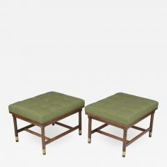 Pair of Mid Century Walnut Tufted Benches - 1373728