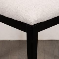 Pair of Midcentury Modern Ebonized Walnut Stools in Powder Gray Fabric - 1522765