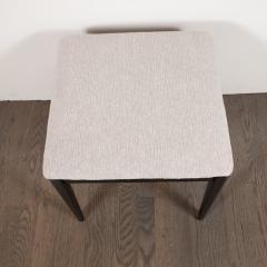 Pair of Midcentury Modern Ebonized Walnut Stools in Powder Gray Fabric - 1522767