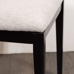 Pair of Midcentury Modern Ebonized Walnut Stools in Powder Gray Fabric - 1522778