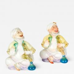 Pair of Miniature Meissen Porcelain Figurines Turks Smoking Hookah - 531342