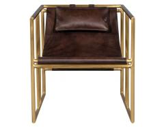 Pair of Modern Brass Leather Lounge Chair Bison by McGuire Haybine - 1836049