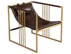Pair of Modern Brass Leather Lounge Chair Bison by McGuire Haybine - 1836055