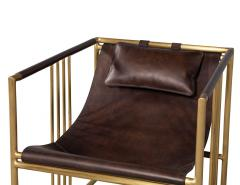 Pair of Modern Brass Leather Lounge Chair Bison by McGuire Haybine - 1836056