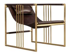 Pair of Modern Brass Leather Lounge Chair Bison by McGuire Haybine - 1836058