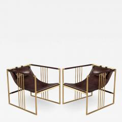 Pair of Modern Brass Leather Lounge Chair Bison by McGuire Haybine - 1839416