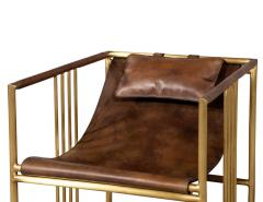 Pair of Modern Brass Leather Lounge Chair Saddle by McGuire Haybine - 1836047