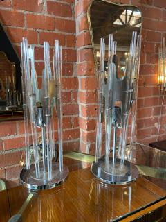 Pair of Modern Cylindrical Glass and Chrome Table Lamps Italy 1970s - 1217667