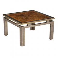 Pair of Modern Geometric Brass and Burled Wood Side Tables - 1046167