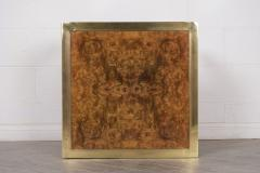 Pair of Modern Geometric Brass and Burled Wood Side Tables - 1046176