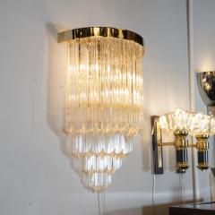Pair of Modernist Brass Handblown Murano Glass 4 Tier Quadretti Sconces - 1579159
