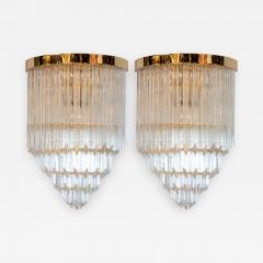 Pair of Modernist Brass Handblown Murano Glass 4 Tier Quadretti Sconces - 1580276