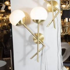 Pair of Modernist Geometric Handblown Murano Frosted Glass Satin Brass Sconces - 1579076