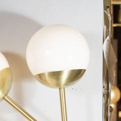 Pair of Modernist Geometric Handblown Murano Frosted Glass Satin Brass Sconces - 1579077