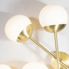 Pair of Modernist Geometric Handblown Murano Frosted Glass Satin Brass Sconces - 1579079