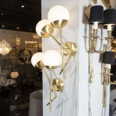 Pair of Modernist Geometric Handblown Murano Frosted Glass Satin Brass Sconces - 1579087