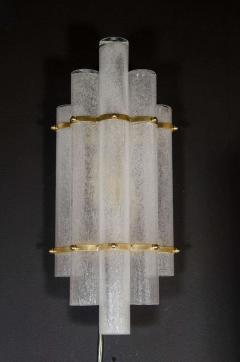 Pair of Modernist Handblown Murano Glass Pulegoso Sconces in Brushed Brass - 1579168