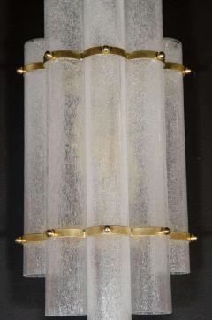 Pair of Modernist Handblown Murano Glass Pulegoso Sconces in Brushed Brass - 1579169