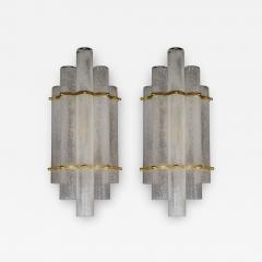 Pair of Modernist Handblown Murano Glass Pulegoso Sconces in Brushed Brass - 1580278