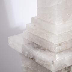 Pair of Modernist Monumental Faceted Hand Carved Rock Crystal Obelisks - 2143764