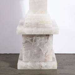 Pair of Modernist Monumental Faceted Hand Carved Rock Crystal Obelisks - 2143821