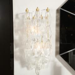 Pair of Modernist Murano Translucent Polyhedral Sconces with Brass Fittings - 2004962