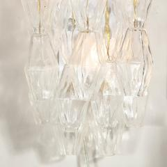 Pair of Modernist Murano Translucent Polyhedral Sconces with Brass Fittings - 2004964