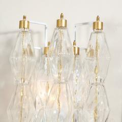 Pair of Modernist Murano Translucent Polyhedral Sconces with Brass Fittings - 2004965