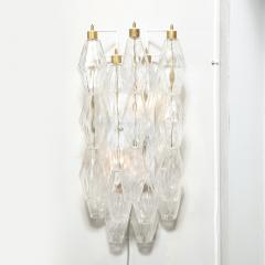 Pair of Modernist Murano Translucent Polyhedral Sconces with Brass Fittings - 2004975
