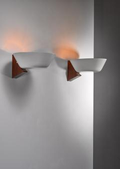 Pair of Modernist wood and metal wall lamps - 1702754