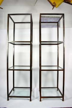Pair of Monumental Custom Etageres in Glass and Iron - 1270095