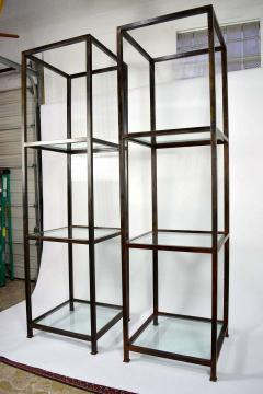 Pair of Monumental Custom Etageres in Glass and Iron - 1270096