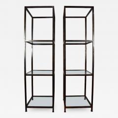Pair of Monumental Custom Etageres in Glass and Iron - 1270867