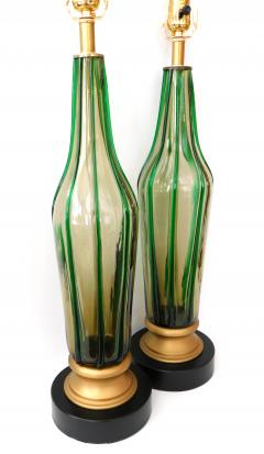 Pair of Murano 1960s Art Glass Lamps with Applied Green Decoration - 1828676