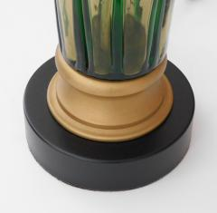 Pair of Murano 1960s Art Glass Lamps with Applied Green Decoration - 1828677