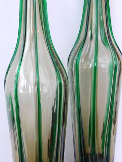 Pair of Murano 1960s Art Glass Lamps with Applied Green Decoration - 1828678