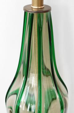 Pair of Murano 1960s Art Glass Lamps with Applied Green Decoration - 1828680