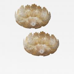 Pair of Murano Glass Leave Flush Mount or Ceiling Lights - 1996553