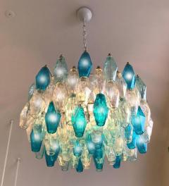 Pair of Murano Glass Poliedri Colored Chandelier in the Style of Carlo Scarpa - 1300685