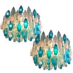 Pair of Murano Glass Poliedri Colored Chandelier in the Style of Carlo Scarpa - 1300686