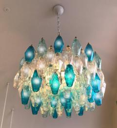 Pair of Murano Glass Poliedri Colored Chandelier in the Style of Carlo Scarpa - 1300688
