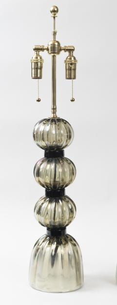 Pair of Murano Irredescent Gray Lamps Contemporary - 1399157