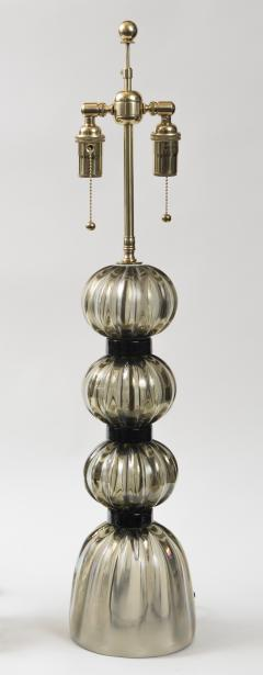 Pair of Murano Irredescent Gray Lamps Contemporary - 1399159