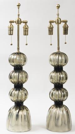 Pair of Murano Irredescent Gray Lamps Contemporary - 1399164