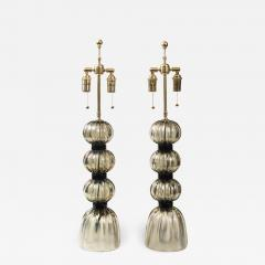 Pair of Murano Irredescent Gray Lamps Contemporary - 1400199