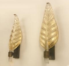 Pair of Murano Leaf Wall Sconces - 1904109