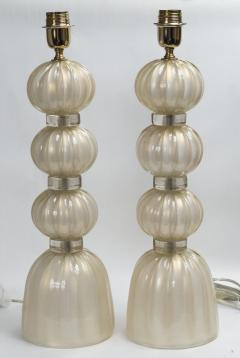 Pair of Murano Opaline Gold Lamps contemporary - 1184372