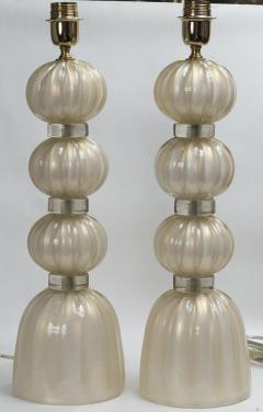 Pair of Murano Opaline Gold Lamps contemporary - 1184412